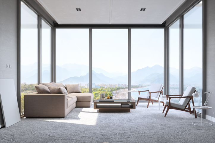 living room with beautiful mountain